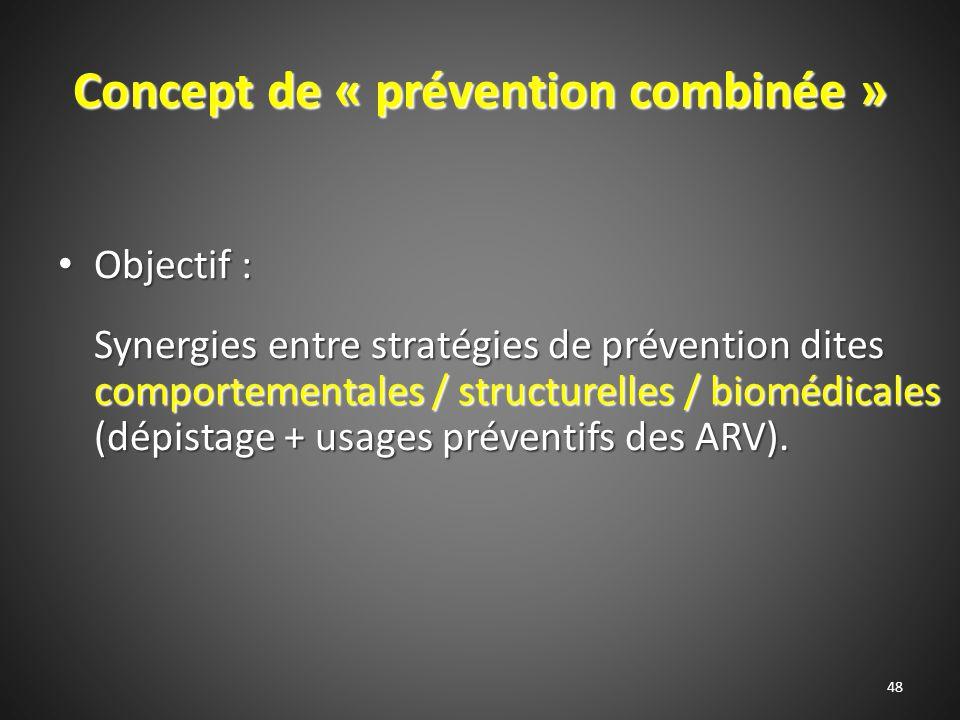 Concept de « prévention combinée » Objectif : Objectif : Synergies entre stratégies de prévention dites comportementales / structurelles / biomédicales (dépistage + usages préventifs des ARV).