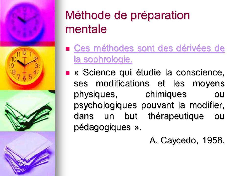 Méthode de préparation mentale Ces méthodes sont des dérivées de la sophrologie. Ces méthodes sont des dérivées de la sophrologie. « Science qui étudi