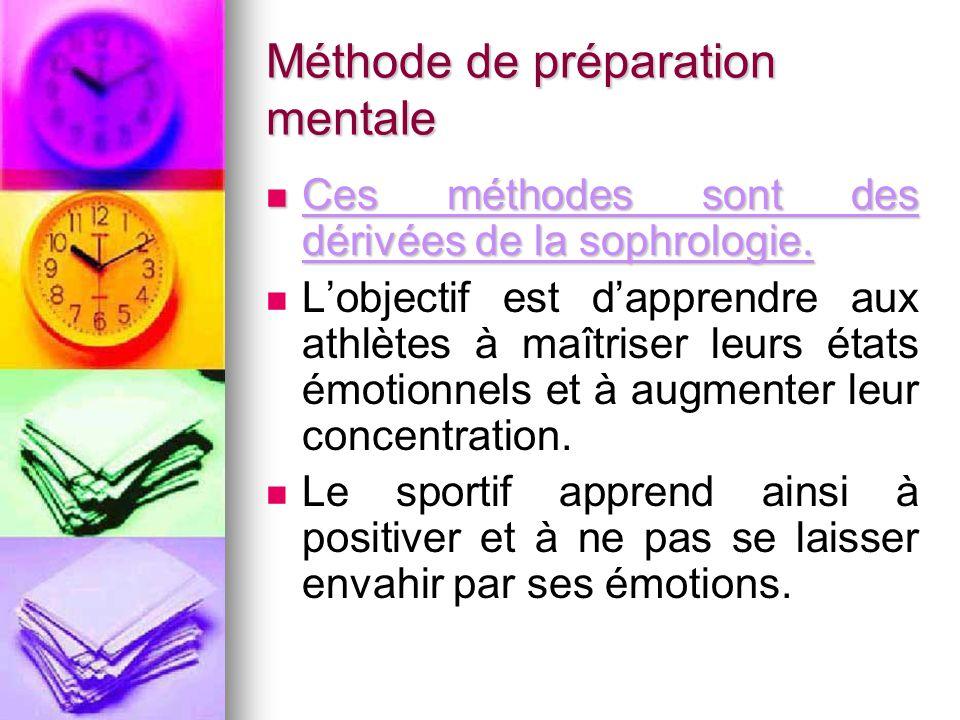 Méthode de préparation mentale Ces méthodes sont des dérivées de la sophrologie. Ces méthodes sont des dérivées de la sophrologie. L'objectif est d'ap