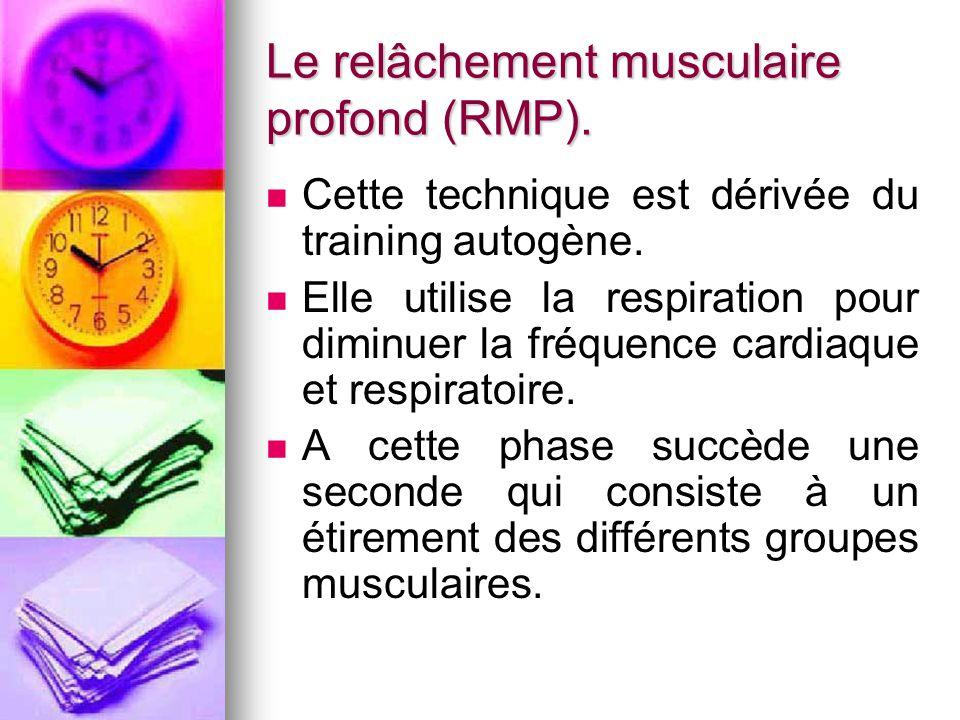 Le relâchement musculaire profond (RMP). Cette technique est dérivée du training autogène. Elle utilise la respiration pour diminuer la fréquence card