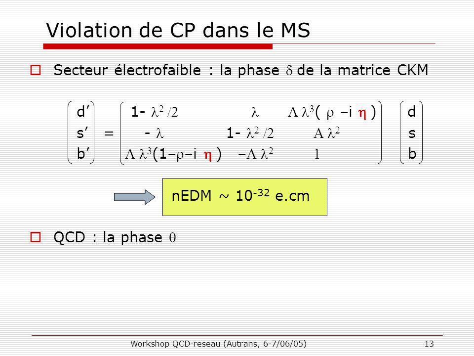 Workshop QCD-reseau (Autrans, 6-7/06/05)13 Violation de CP dans le MS  Secteur électrofaible : la phase de la matrice CKM d' 1-    (  –i ) d s' = - 1-    s b'   (1––i ) –  b nEDM ~ 10 -32 e.cm  QCD : la phase 
