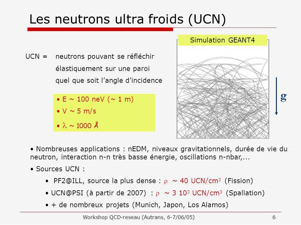 Workshop QCD-reseau (Autrans, 6-7/06/05)6 Les neutrons ultra froids (UCN) UCN = neutrons pouvant se réfléchir élastiquement sur une paroi quel que soit l'angle d'incidence Simulation GEANT4 E ~ 100 neV (~ 1 m) V ~ 5 m/s ~ 1000 Å Nombreuses applications : nEDM, niveaux gravitationnels, durée de vie du neutron, interaction n-n très basse énergie, oscillations n-nbar,...