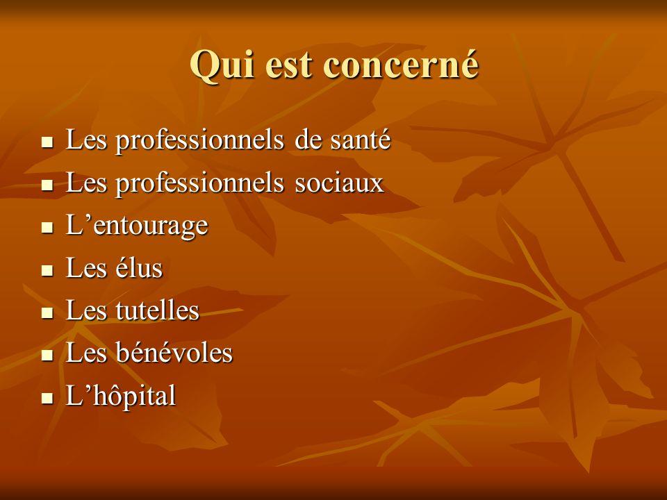 Qui est concerné Les professionnels de santé Les professionnels de santé Les professionnels sociaux Les professionnels sociaux L'entourage L'entourage