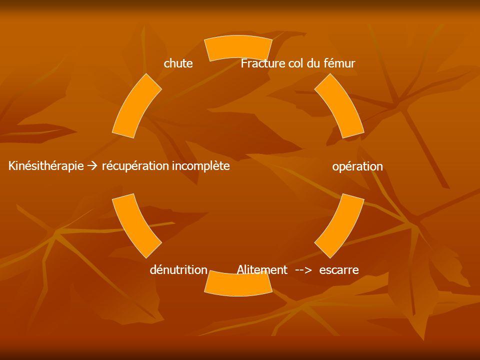 Fracture col du fémur opération Alitement --> escarre dénutrition Kinésithérapie  récupération incomplète chute