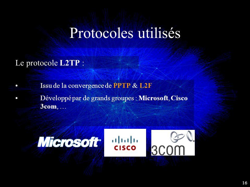 Protocoles utilisés Le protocole L2TP : Issu de la convergence de PPTP & L2F Développé par de grands groupes : Microsoft, Cisco 3com, … 16