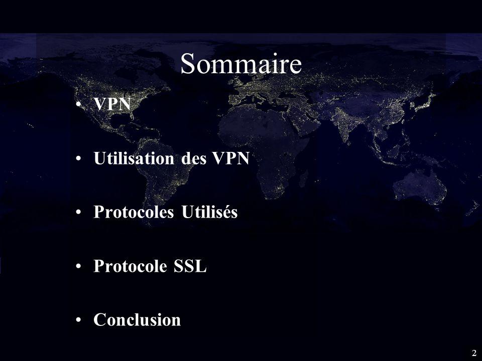 Sommaire VPN Utilisation des VPN Protocoles Utilisés Protocole SSL Conclusion 2