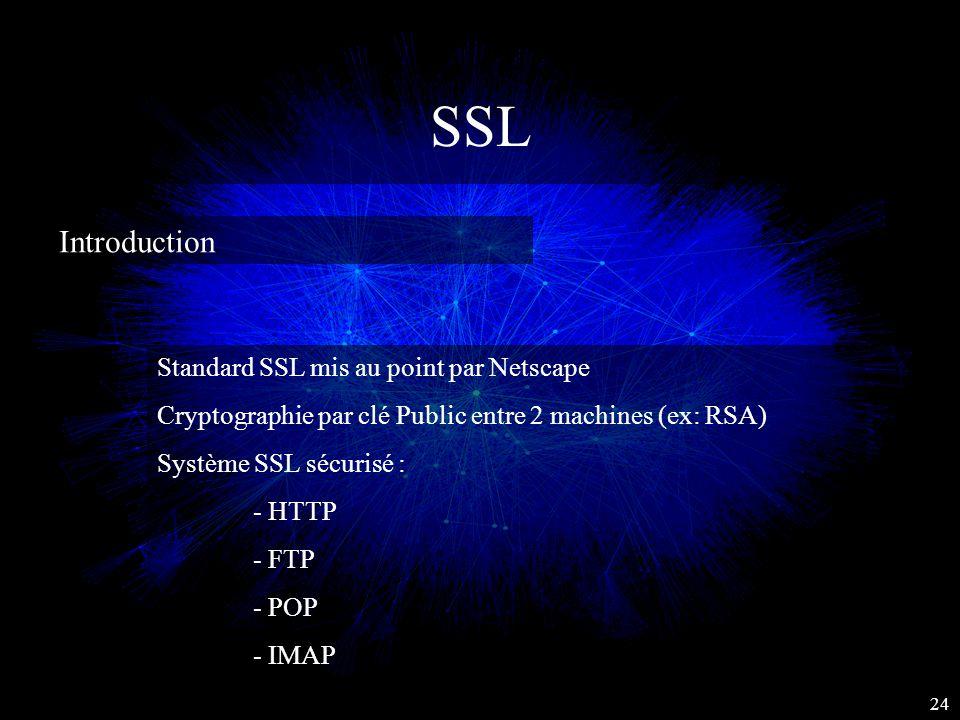 SSL Introduction Standard SSL mis au point par Netscape Cryptographie par clé Public entre 2 machines (ex: RSA) Système SSL sécurisé : - HTTP - FTP -