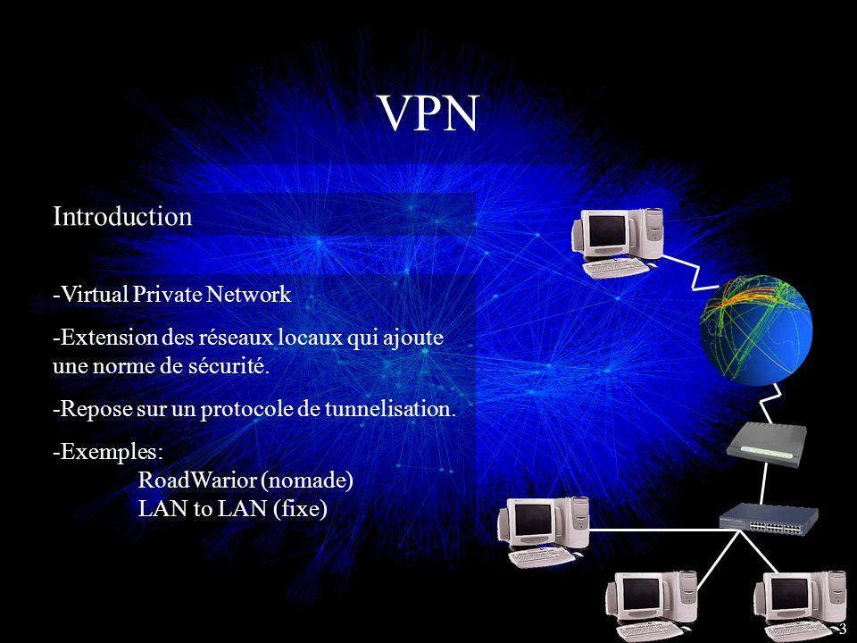 VPN Introduction 3 -Virtual Private Network -Extension des réseaux locaux qui ajoute une norme de sécurité. -Repose sur un protocole de tunnelisation.