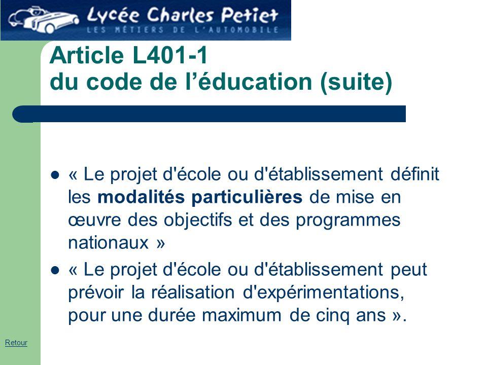 Article L401-1 du code de l'éducation (suite) « Le projet d'école ou d'établissement définit les modalités particulières de mise en œuvre des objectif