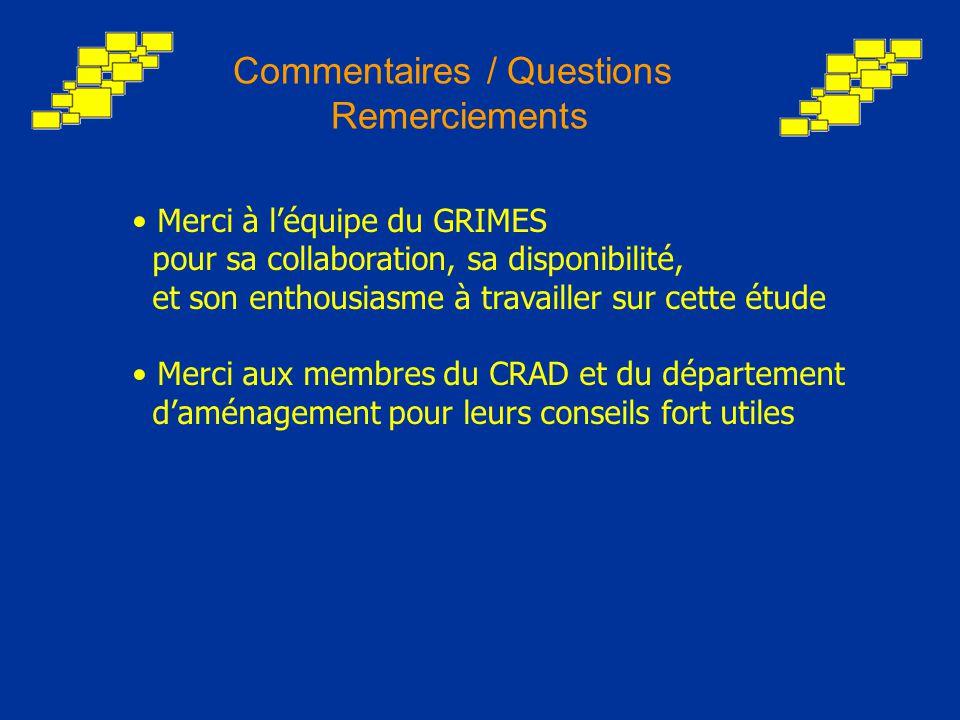 Commentaires / Questions Remerciements Merci à l'équipe du GRIMES pour sa collaboration, sa disponibilité, et son enthousiasme à travailler sur cette étude Merci aux membres du CRAD et du département d'aménagement pour leurs conseils fort utiles