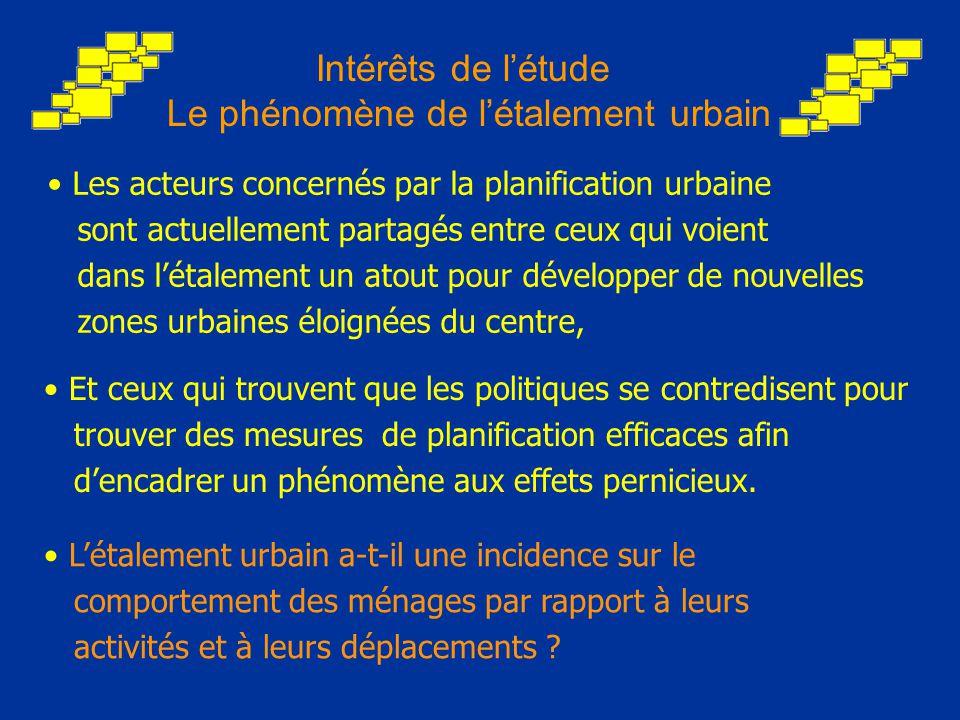 Intérêts de l'étude Le phénomène de l'étalement urbain L'étalement urbain a-t-il une incidence sur le comportement des ménages par rapport à leurs activités et à leurs déplacements .