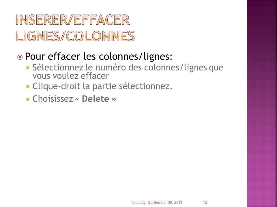  Pour effacer les colonnes/lignes:  Sélectionnez le numéro des colonnes/lignes que vous voulez effacer  Clique-droit la partie sélectionnez.  Choi