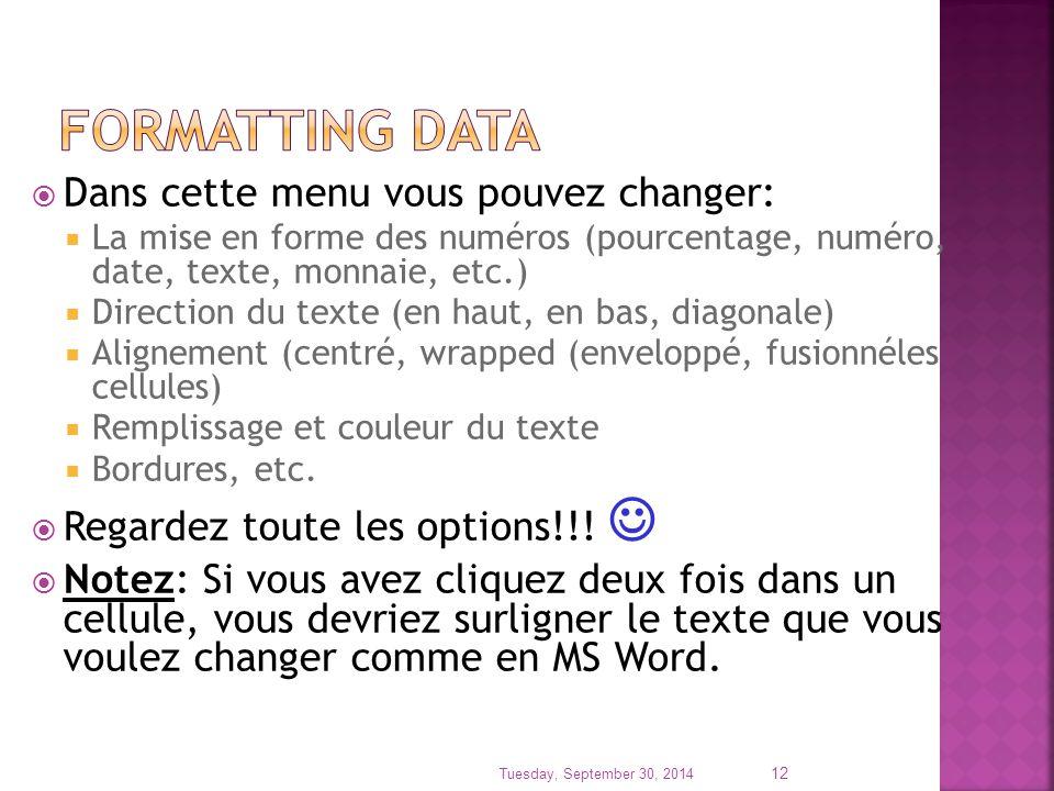  Dans cette menu vous pouvez changer:  La mise en forme des numéros (pourcentage, numéro, date, texte, monnaie, etc.)  Direction du texte (en haut,