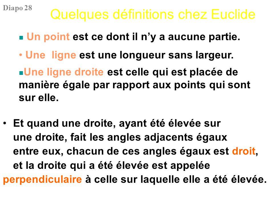 Quelques définitions chez Euclide Et quand une droite, ayant été élevée sur une droite, fait les angles adjacents égaux entre eux, chacun de ces angle