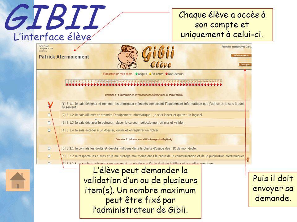 GIBII L'interface élève Chaque élève a accès à son compte et uniquement à celui-ci. L'élève peut demander la validation d'un ou de plusieurs item(s).