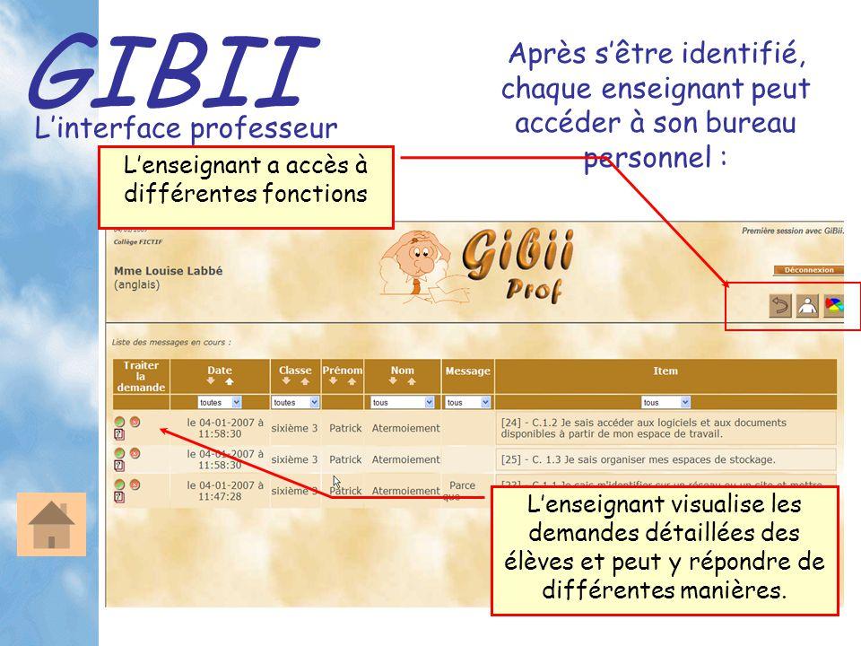 GIBII L'interface professeur Après s'être identifié, chaque enseignant peut accéder à son bureau personnel : L'enseignant visualise les demandes détai
