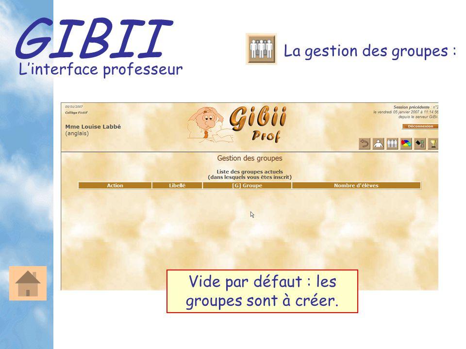 GIBII L'interface professeur La gestion des groupes : Vide par défaut : les groupes sont à créer.