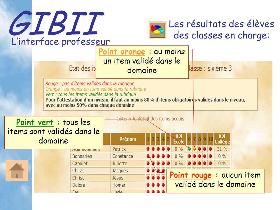 GIBII L'interface professeur Les résultats des élèves des classes en charge: Point vert : tous les items sont validés dans le domaine Point orange : au moins un item validé dans le domaine Point rouge : aucun item validé dans le domaine