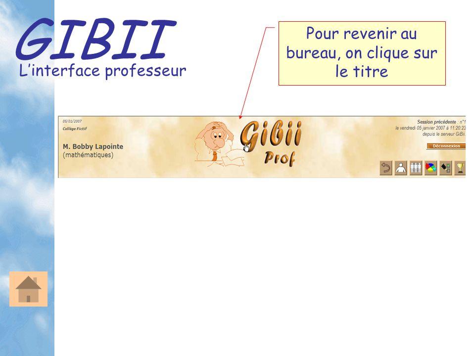GIBII L'interface professeur Pour revenir au bureau, on clique sur le titre