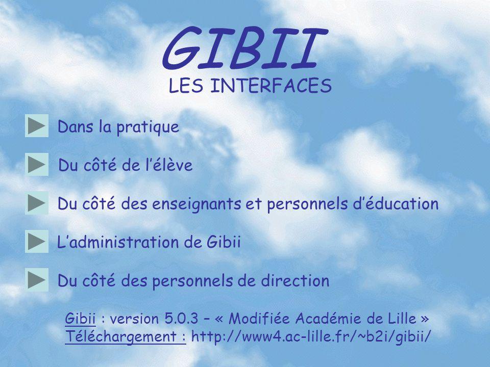GIBII Du côté des enseignants et personnels d'éducation L'administration de Gibii Du côté des personnels de direction LES INTERFACES Du côté de l'élèv