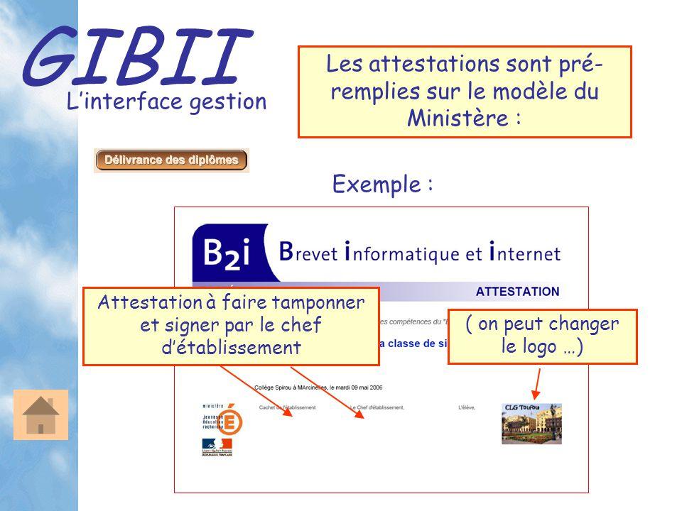GIBII L'interface gestion Les attestations sont pré- remplies sur le modèle du Ministère : Exemple : Attestation à faire tamponner et signer par le ch