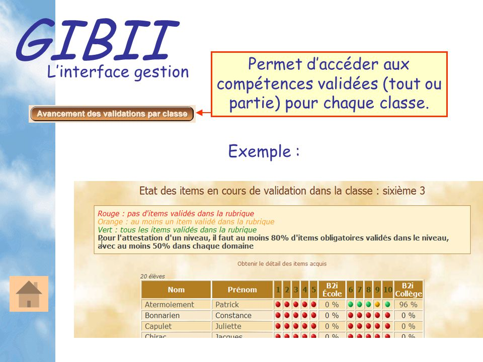 GIBII L'interface gestion Permet d'accéder aux compétences validées (tout ou partie) pour chaque classe. Exemple :