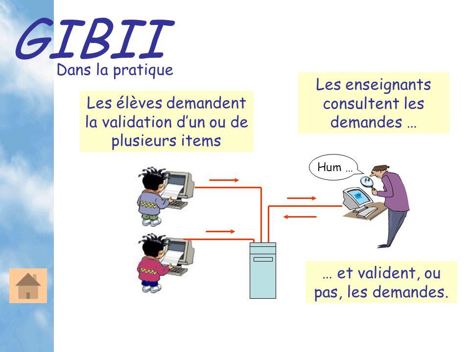 GIBII Dans la pratique Les élèves demandent la validation d'un ou de plusieurs items Les enseignants consultent les demandes … Hum … … et valident, ou