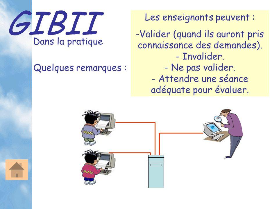 GIBII L'interface professeur Après s'être identifié, chaque enseignant peut accéder à son bureau personnel : L'enseignant visualise les demandes détaillées des élèves et peut y répondre de différentes manières.