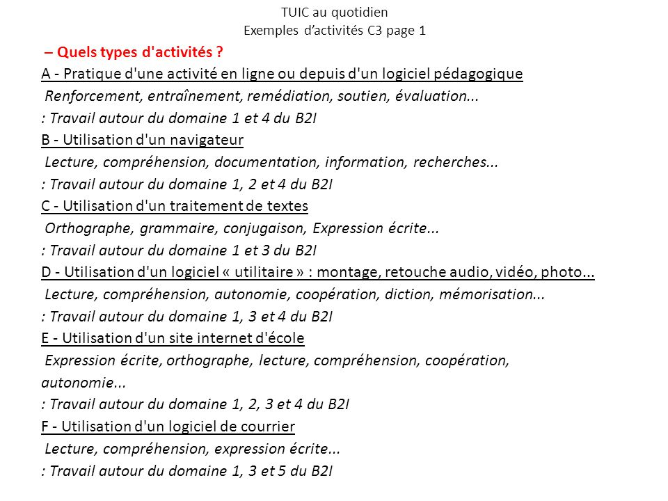 TUIC au quotidien Exemples d'activités C3 page 1 – Quels types d'activités ? A - Pratique d'une activité en ligne ou depuis d'un logiciel pédagogique