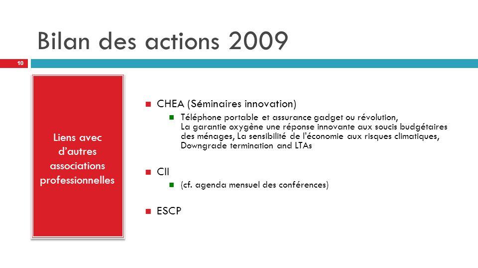 Bilan des actions 2009 Liens avec d'autres associations professionnelles CHEA (Séminaires innovation) Téléphone portable et assurance gadget ou révolution, La garantie oxygène une réponse innovante aux soucis budgétaires des ménages, La sensibilité de l'économie aux risques climatiques, Downgrade termination and LTAs CII (cf.