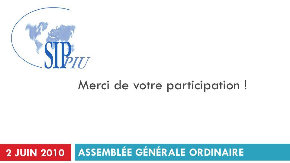 ASSEMBLÉE GÉNÉRALE ORDINAIRE Merci de votre participation ! 2 JUIN 2010