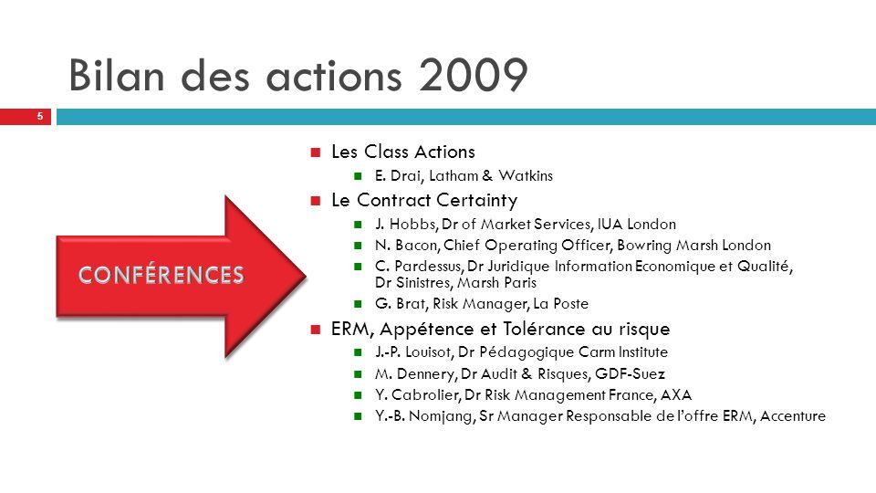 Bilan des actions 2009 Les Class Actions E. Drai, Latham & Watkins Le Contract Certainty J.