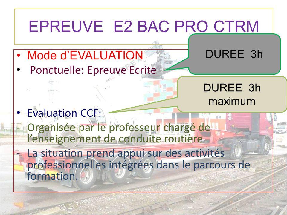 EPREUVE E2 BAC PRO CTRM Mode d'EVALUATION Ponctuelle: Epreuve Ecrite Evaluation CCF: -Organisée par le professeur chargé de l'enseignement de conduite
