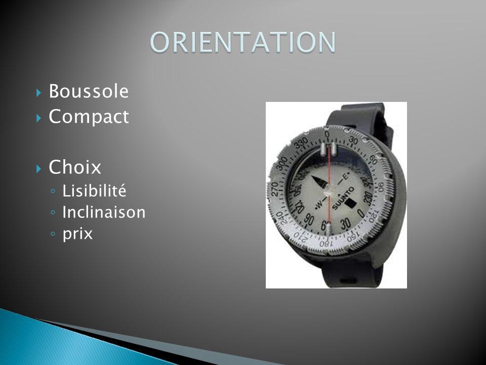  Boussole  Compact  Choix ◦ Lisibilité ◦ Inclinaison ◦ prix