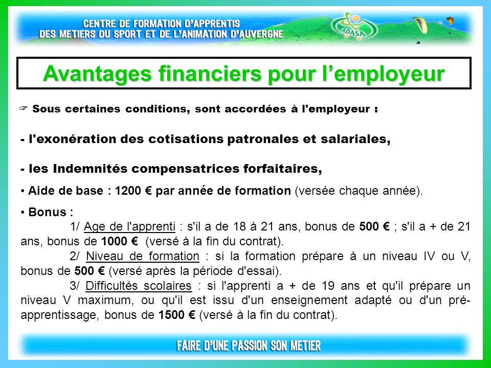  Sous certaines conditions, sont accordées à l'employeur : Avantages financiers pour l'employeur - l'exonération des cotisations patronales et salari