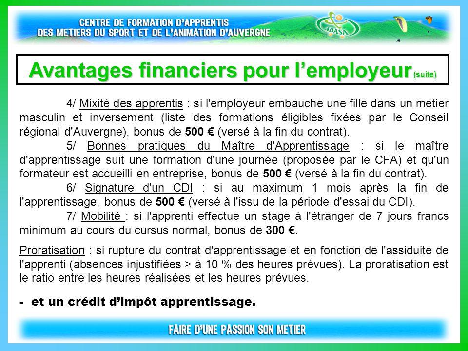 Avantages financiers pour l'employeur (suite) 4/ Mixité des apprentis : si l'employeur embauche une fille dans un métier masculin et inversement (list