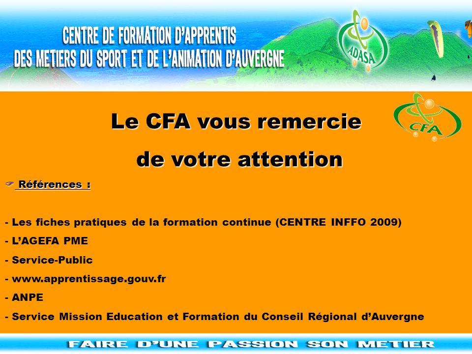 Le CFA vous remercie de votre attention de votre attention  Références : - Les fiches pratiques de la formation continue (CENTRE INFFO 2009) - L'AGEF