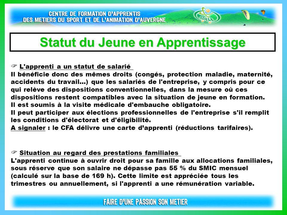  L'apprenti a un statut de salarié Il bénéficie donc des mêmes droits (congés, protection maladie, maternité, accidents du travail...) que les salari