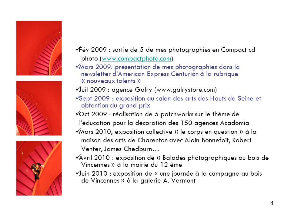 4 Fév 2009 : sortie de 5 de mes photographies en Compact cd photo (www.compactphoto.com)www.compactphoto.com Mars 2009: présentation de mes photographies dans la newsletter d'American Express Centurion à la rubrique « nouveaux talents » Juil 2009 : agence Galry (www.galrystore.com) Sept 2009 : exposition au salon des arts des Hauts de Seine et obtention du grand prix Oct 2009 : réalisation de 5 patchworks sur le thème de l'éducation pour la décoration des 150 agences Acadomia Mars 2010, exposition collective « le corps en question » à la maison des arts de Charenton avec Alain Bonnefoit, Robert Venter, James Chedburn… Avril 2010 : exposition de « Balades photographiques au bois de Vincennes » à la mairie du 12 ème Juin 2010 : exposition de « une journée à la campagne au bois de Vincennes » à la galerie A.