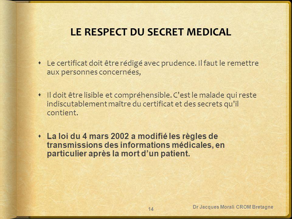 LE RESPECT DU SECRET MEDICAL  Le certificat doit être rédigé avec prudence. Il faut le remettre aux personnes concernées,  Il doit être lisible et c