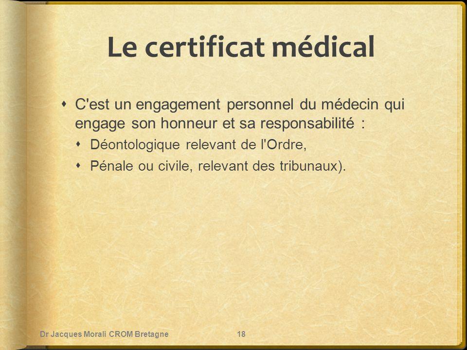 Le certificat médical  C'est un engagement personnel du médecin qui engage son honneur et sa responsabilité :  Déontologique relevant de l'Ordre, 