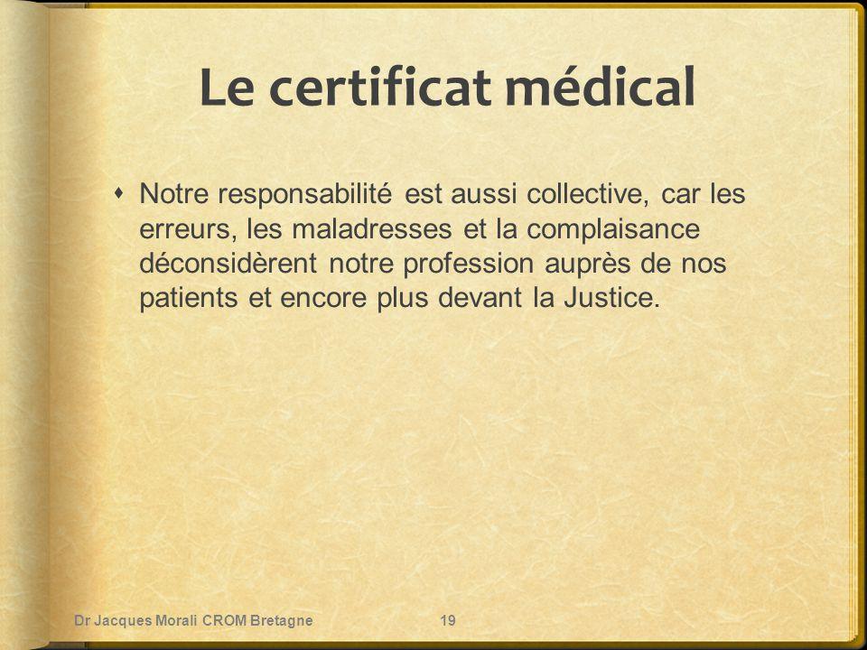 Le certificat médical  Notre responsabilité est aussi collective, car les erreurs, les maladresses et la complaisance déconsidèrent notre profession