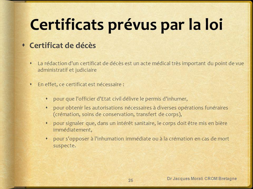 Certificats prévus par la loi  Certificat de décès  La rédaction d'un certificat de décès est un acte médical très important du point de vue adminis