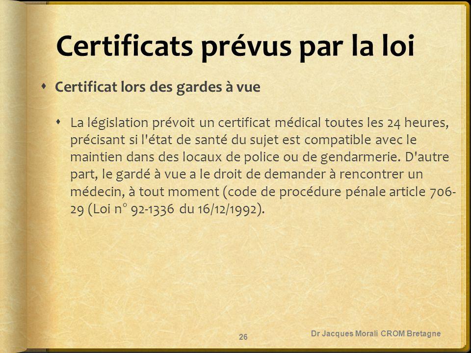 Certificats prévus par la loi  Certificat lors des gardes à vue  La législation prévoit un certificat médical toutes les 24 heures, précisant si l'é