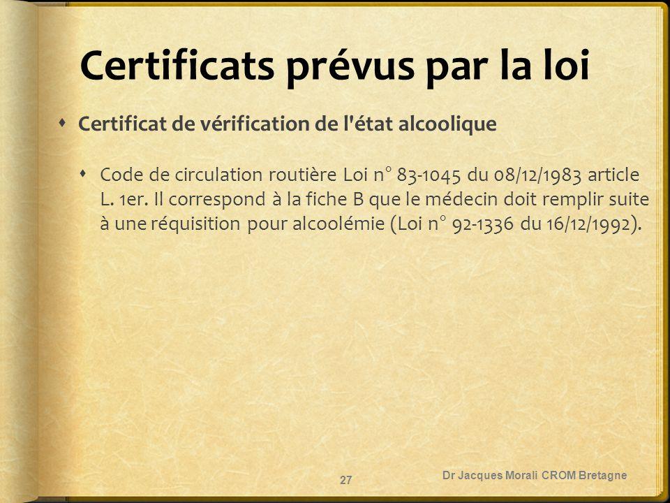 Certificats prévus par la loi  Certificat de vérification de l'état alcoolique  Code de circulation routière Loi n° 83-1045 du 08/12/1983 article L.