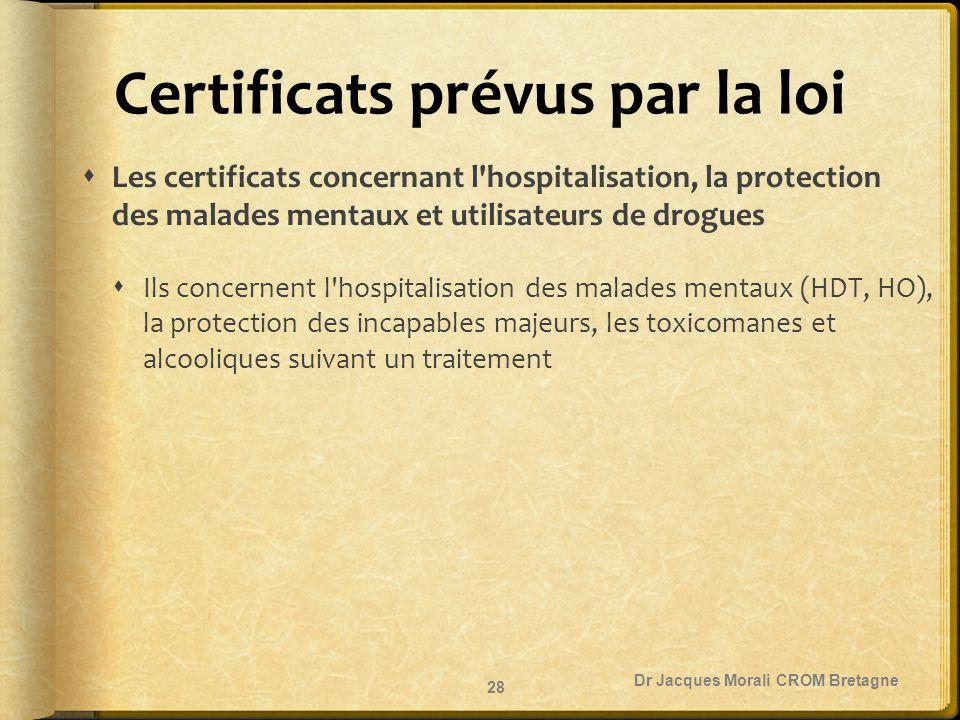 Certificats prévus par la loi  Les certificats concernant l'hospitalisation, la protection des malades mentaux et utilisateurs de drogues  Ils conce
