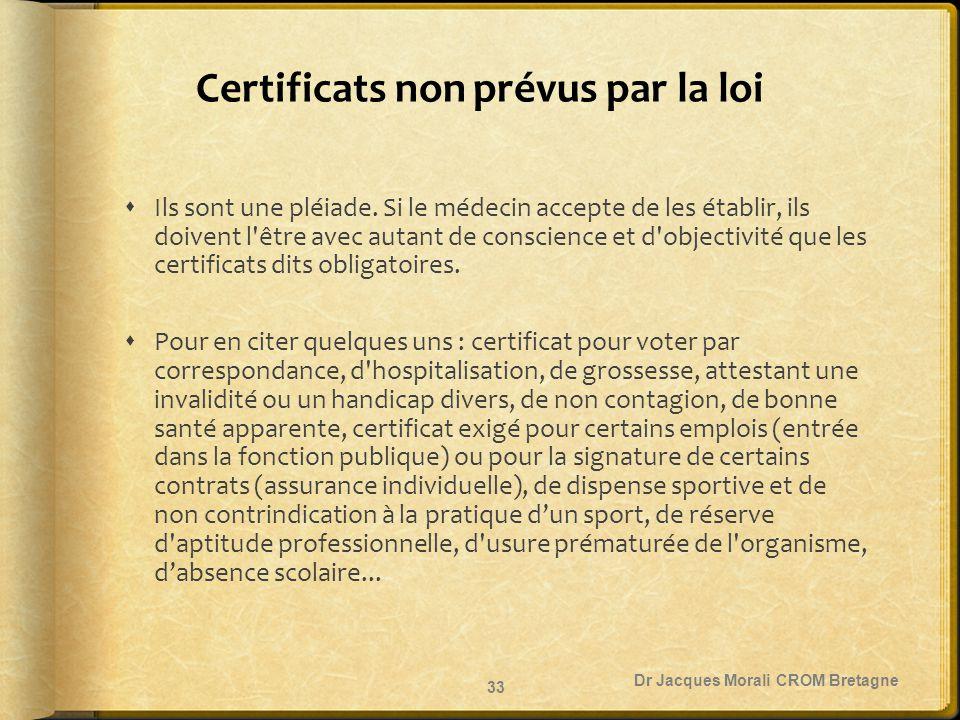 Certificats non prévus par la loi  Ils sont une pléiade. Si le médecin accepte de les établir, ils doivent l'être avec autant de conscience et d'obje