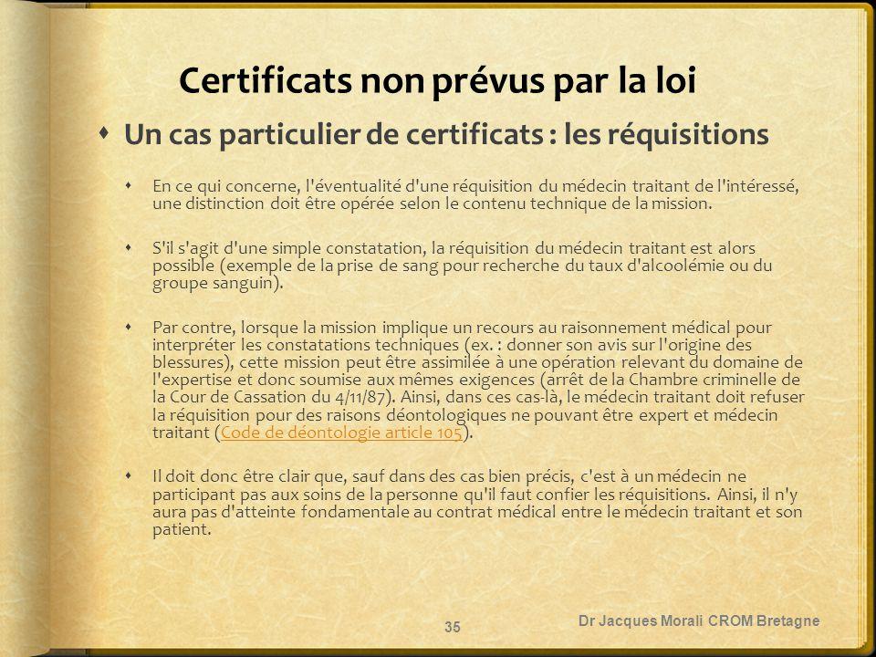 Certificats non prévus par la loi  Un cas particulier de certificats : les réquisitions  En ce qui concerne, l'éventualité d'une réquisition du méde