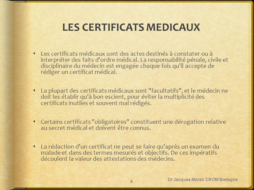 LE RESPECT DU SECRET MEDICAL  Le secret n est pas opposable au patient qui demande un certificat, seul le risque de révélation d un diagnostic grave ou d une pronostic fatal peut faire entorse à cette règle (code de déontologie des médecins article 35).code de déontologie des médecins article 35  Le certificat ne peut jamais être remis à un tiers sauf exception.