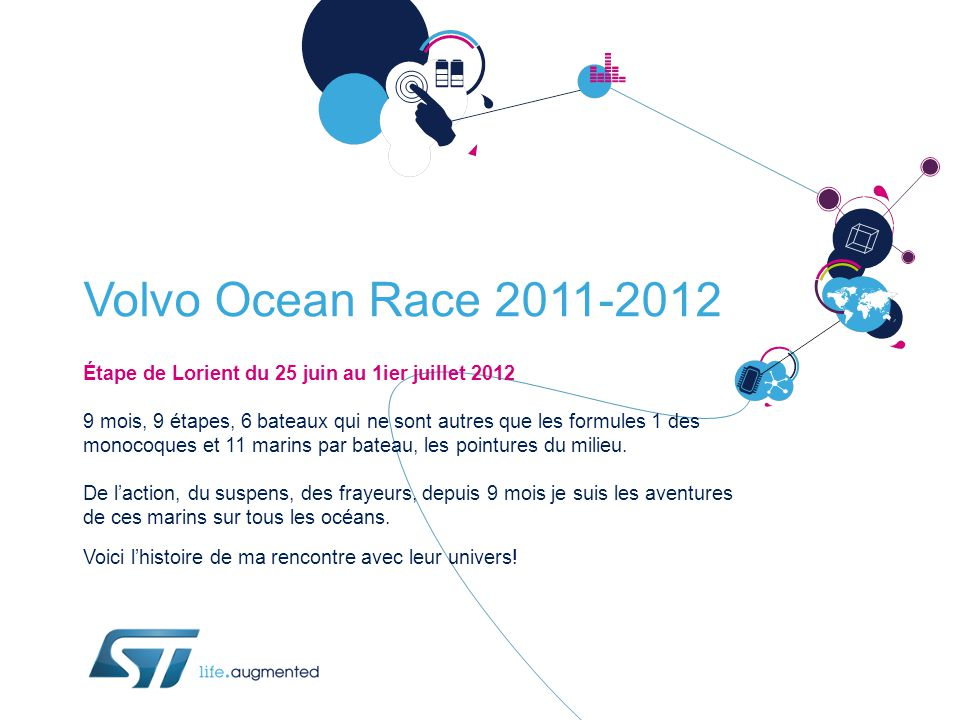 Volvo Ocean Race 2011-2012 Étape de Lorient du 25 juin au 1ier juillet 2012 9 mois, 9 étapes, 6 bateaux qui ne sont autres que les formules 1 des monocoques et 11 marins par bateau, les pointures du milieu.